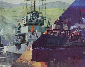 Soviet Vintage Navy Postcard Set Of 2/USSR Battle Ships/Collectible Cards/War Memorabilia/Military Collectible/Pacific Fleet/1970's/WWII Art