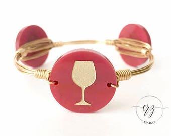 Wine Disc Bangle, Wine, Bracelet, Bangle