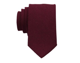 Maroon Linen Ties.Solid Maroon Skinny Tie. Mens Neckties.Wedding Necktie. Groomsmen Ties.Standard or Extra Long