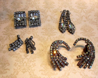 Lot of Vintage AS IS Rhinestone Earrings