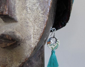 Circle Games Recycled Tin Earrings with Green Tassel