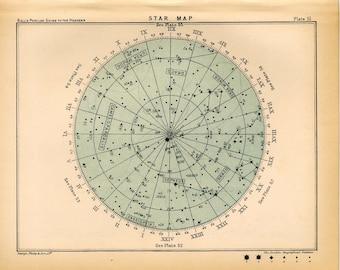 1910 star map 51 original antique celestial astronomy print