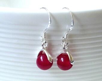 Silver gemstone earrings. Sterling silver earrings. Hook earrings. Dangle earrings. Jade earring.