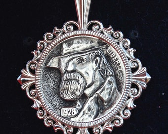 "US 1928 Indian Head Buffalo Hobo Nickel Coin Solid 925 Sterling Silver Necklace NEW - ""True Grit"""