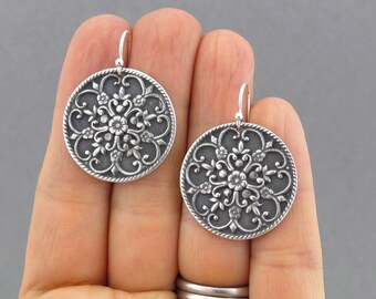 Large Silver Earrings Flower Mandala Earrings Silver Dangle Earrings Romantic Jewelry Handmade Gift for Women - Large Flower Mandala