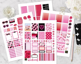 Printable Planner Stickers with cut lines | Valentine | SALE | Vertical for Erin Condren Planner | Weekly Kit | with blackout files | 80's