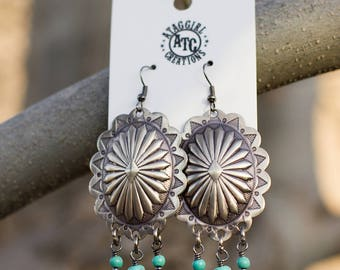 Concho Earrings with Bead Dangles