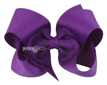 Royal Orchid Purple Hair Bow - 4 Inch Bows - Baby Toddler Girl Hairbows Classic Large Boutique Non Slip Alligator Clip Bright Dark Purple