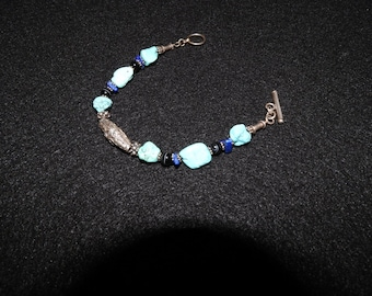 Turquoise Blue Lapis Chips and Bali Silver Beads