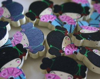 Pink fan chan - 1 wooden Kokeshi doll pin charm
