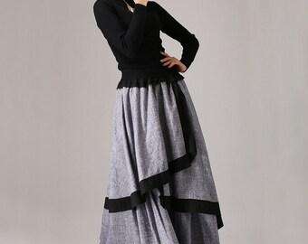 Linen skirt, gray linen skirt, long skirt for women, womens skirt, maxi skirt, layered skirt, high waisted skirt, custom made skirt  (771)