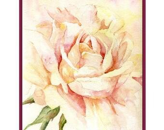 Aquarelle en sourdine Rose Note cartes Rose imprimé Rose papeterie Roses Rose Art Coffret bas de Noël