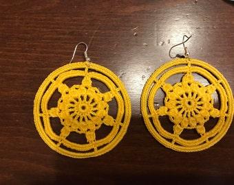 Yellow Circle Earrings Crochet