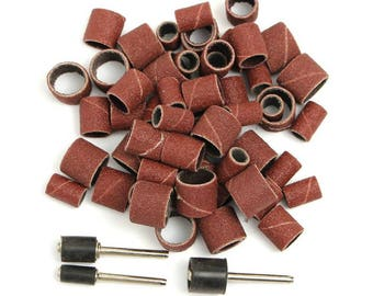 """63 Piece Abrasive Rotary Drum Sanding Set Mandrel Fits All Rotary Tool with 1/8"""" Shank Including Dremel Sanding Bands 80 Grit Pads Sandpaper"""