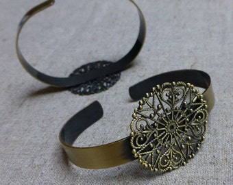 free shipping in UK - 5 pcs Brass Bracelet Component with Filigree Base
