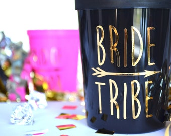 BRIDE TRIBE | Plastic Stadium Cups | Customizable | Bridal Party Favors | Bachelorette | Wedding | Bridesmaid Gifts | Shower | Tribal