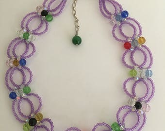 "Beautiful vintage artisan handmade purple/multi color, small beads strands 14"" necklace, silver tone clasps, back dangle"