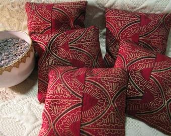 Organic Lavender Sachet - Small Pillow Sachet Set of 5 - Lavender Home Fragrance - Gift for Her - Organic Moth Repellent - Red, Black, Gold