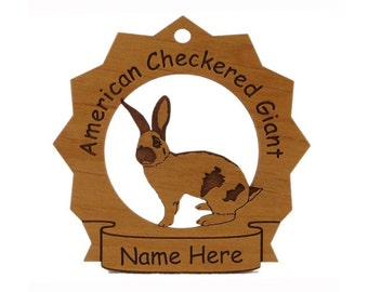 American Checkered Giant Rabbit Wood Ornament Personalized with Your Rabbit's Name