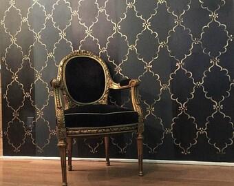 Indian Trellis Allover Wall Stencil for Designer Wallpaper Look - Decorative Stencils for DIY Room Makeover