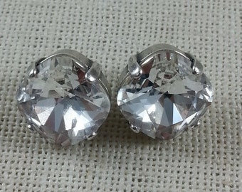 Swarovski 12mm Cushion Cut Stud Earrings / Clear Crystal Earrings /Antique Silver / Classy Earrings /Crystal Earrings / Designer Inspired