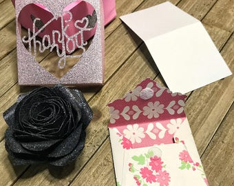Rose Flower Magnet, Flower Fridge Magnet, Handmade Home Decor, Thank You Card, Personal | Card Set, Thank You Greeting Card, Office Magnet