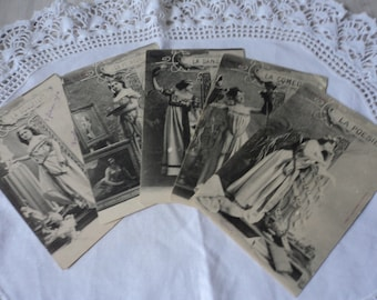 REDUCED - Four French vintage postcards Les Arts 1904   (00609)