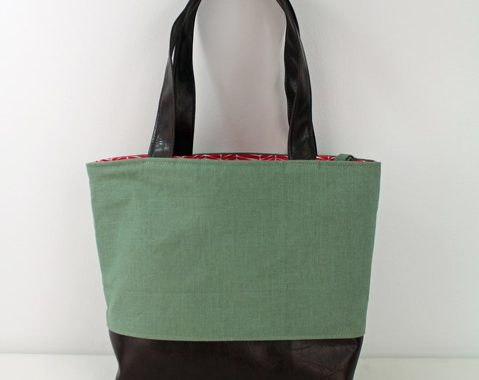 Lulu Large Tote Diaper Bag -Sage Linen with PU Chocolate Brown Leather and Coral Trellis Lining Ready to SHip