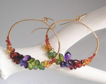 Rainbow Gemstone Hoops, Oval 14k Gold Filled Earrings, Colorful Chakra Gem Front Facing Hoops, Statement Earrings, Artisan Designed