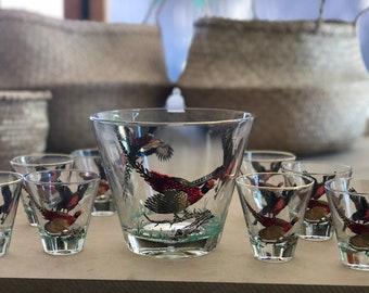 8 vintage pheasant Hazel Atlas shot glasses with a matching ice bucket
