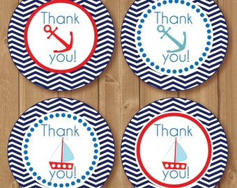 Thank You Favor Tags .Nautical tags. Navy, chevron. Printable Nautical Birthday diy Thank You Tags. Nautical Babyshower. INSTANT DOWNLOAD