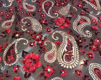 "Italian designer Chiffon Velvet Burnout fabric Floral print. Price for One Yard  45"" Wide"
