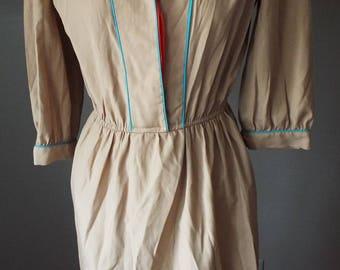 Amazing Vintage Tan Dress by Nancy Greer