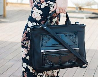 Vegan crossbody bag - bags & purses - black crossbody bag - vegan handbags - crossbody bag for women - non leather bag - MeDusa handbag