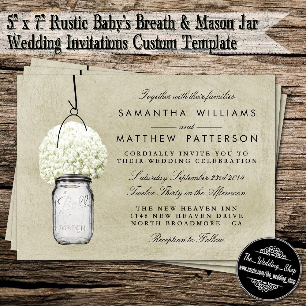 5 x 7 Printable DIY Wedding Invitations Rustic