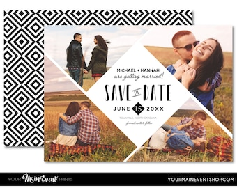Modern Geometric Save The Date Card • Black and White Diamond Save The Date Photo Wedding Cards - Printable