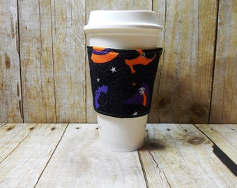 Fabric Coffee Cozy / Witches Hat and Boots Sparkle Coffee Cozy / Witch Coffee Cozy / Halloween Coffee Cozy / Coffee Cozy / Tea Cozy