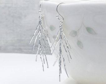 Silver Twig Earrings, Branch Earrings, Pine Needle Forest Woodland Earrings, Delicate Earrings, Twig Earrings, Rustic Earring, Gift for Her