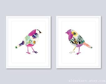 Bird Prints Bird Wall Art Floral Bird Art Watercolor Bird Art Modern Bird Art Prints Bedroom Wall Art Bird Nursery Wall Art Set Of 2 Prints
