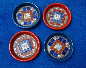 Handmade Mosaic Tile Coasters Blue Red  Silver on Lacquered Clay Pot Saucers Set of Four