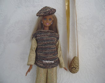 Pants, tunic sweater and beret Golden Barbie doll
