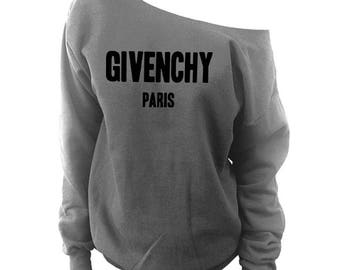 Givenchy Shirt | High Fashion Givenchy Inspired Sweatshirt | Givenchy Off Shoulder Slouchy Sweatshirt
