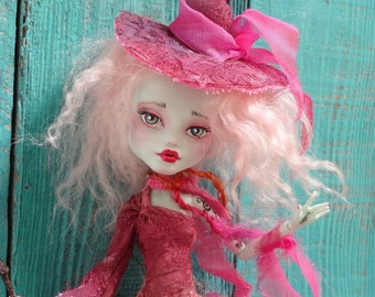 RESERVED - Pink Witch -  Monster High Frankie doll repaint - by Marina OOAK (balance)