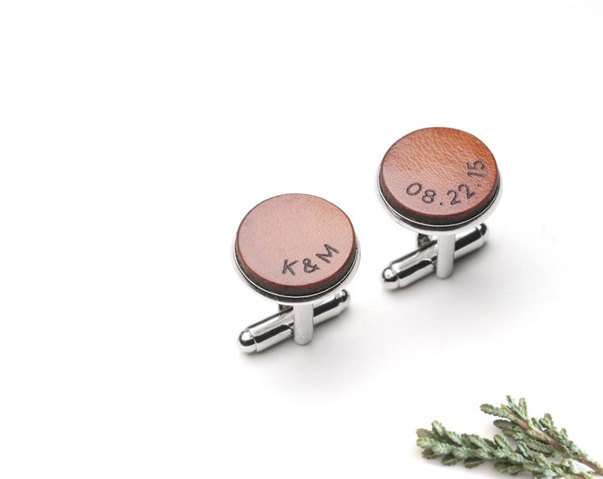 3 Year anniversary gift for him, Personalized Leather Cufflinks