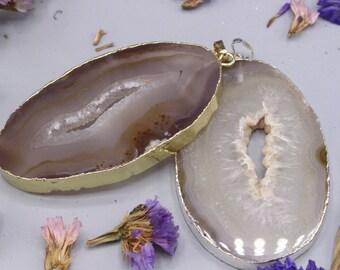 Agate geode pendant - big agate pendant - agate pendant silver coating - gold coating agate pendant - men and women fashion - healing stone