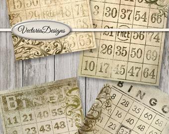 Grunge Bingo Cards 3.5 x 5 inch printable paper crafting diy journal instant download digital download digital collage sheet - VDCAGR1488