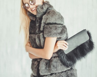 Black fox fur clutch Real fur bag Clutch bag Fur purse Evening fur clutch Gift for her Valentine's gift gift for woman