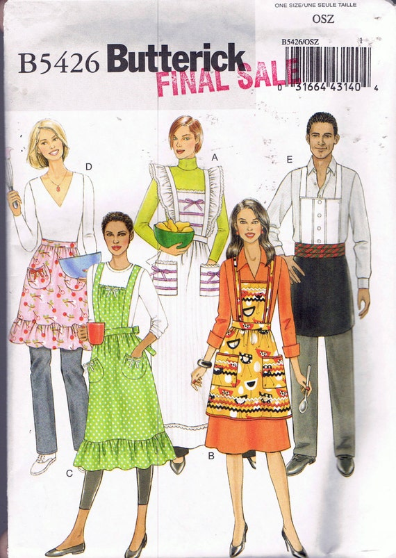 Misses\' Apron Sewing Pattern - Ruffled Bib Apron With Pockets ...
