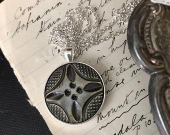 Bone Pendant, 1950's brown bone pendant, dark brown pendant, vintage bone button pendant, bone button pendant, button pendant