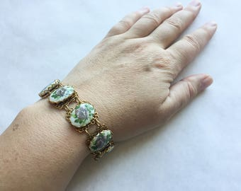 1960s Filigree Panel Bracelet with Roses